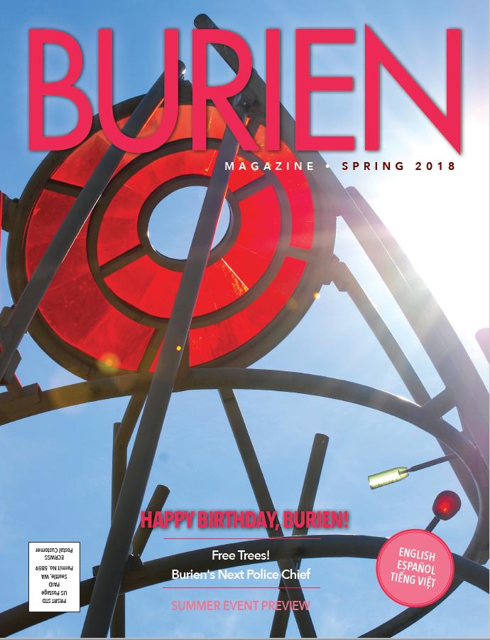 Burien Magazine cover. Helios sculpture.