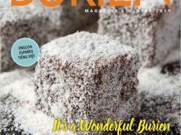 Burien Magazine cover. Lamington cake.
