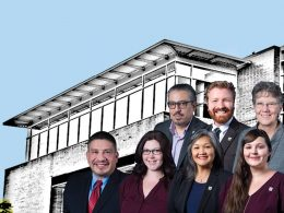 Burien City Council members with Burien City Hall in background