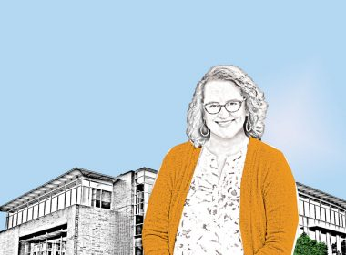 Illustration of Communications Officer Emily Inlow-Hood standing in front of Burien City Hall