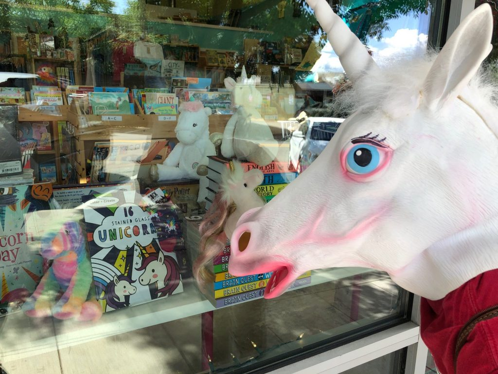 Unicorn looking at bookstore window.