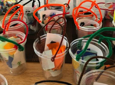Plastic cup lanterns.