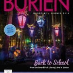 Burien Magazine cover. Arts-A-Glow light installation in forest.