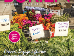 Burien Magazine cover. Farmers market flower and vegetable stand.