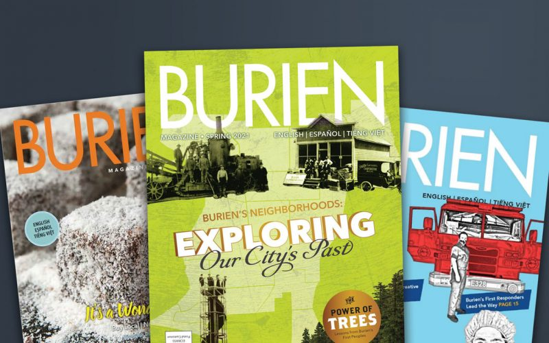 Assorted covers of Burien Magazine