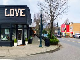 Burien business storefronts, including Paper Delights and The Shoppe Seahurst