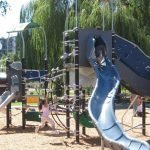 Children play on playground.