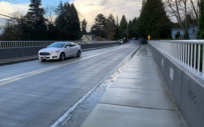 Bridge and car.