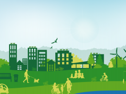 Illustration of city with people, park, windmills, solar panels, and wildlife.