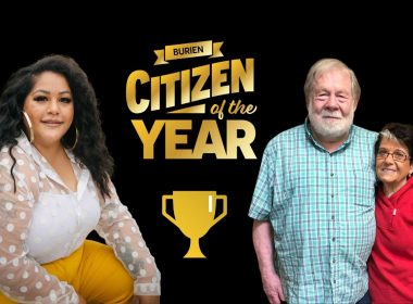Photograph of three people. Burien Citizen of the Year. Illustration of trophy.