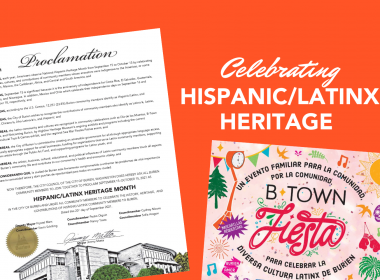 City of Burien proclamation and event poster on orange background. TEXT: Celebrating Hispanic/Latinx Heritage
